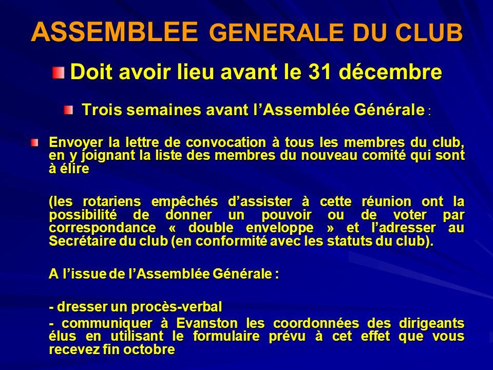 ASSEMBLEE GENERALE DU CLUB