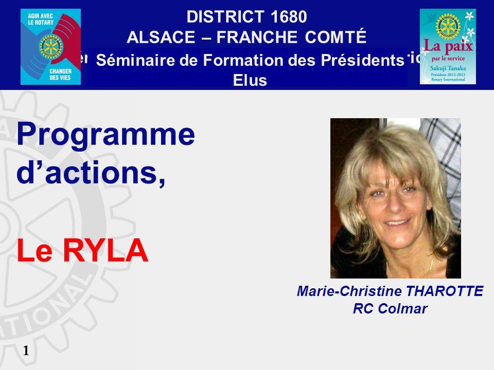 Séminaire de Formation des Présidents Elus Marie-Christine THAROTTE
