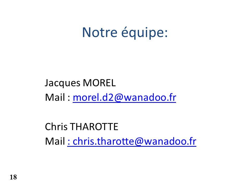 Notre équipe: Jacques MOREL Mail : morel.d2@wanadoo.fr Chris THAROTTE