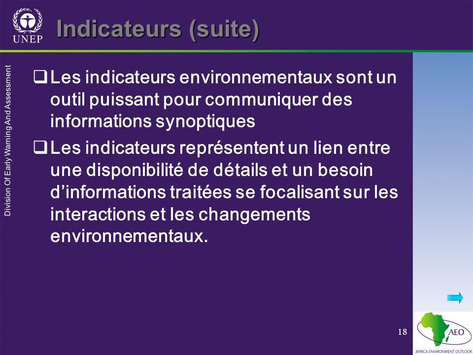 Indicateurs (suite) Les indicateurs environnementaux sont un outil puissant pour communiquer des informations synoptiques.