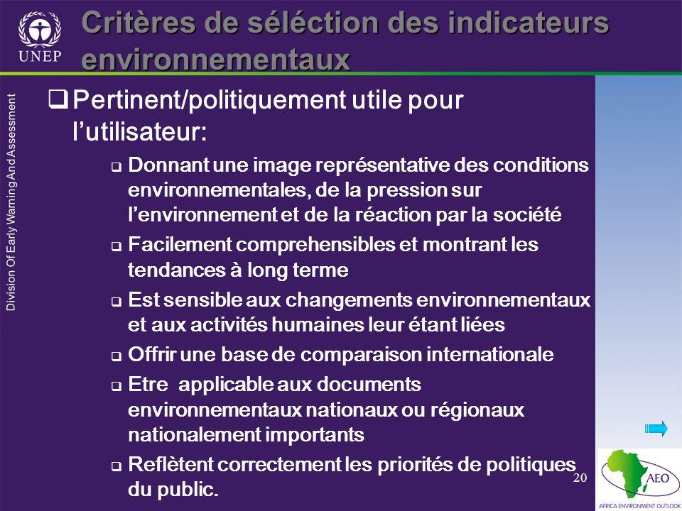 Critères de séléction des indicateurs environnementaux