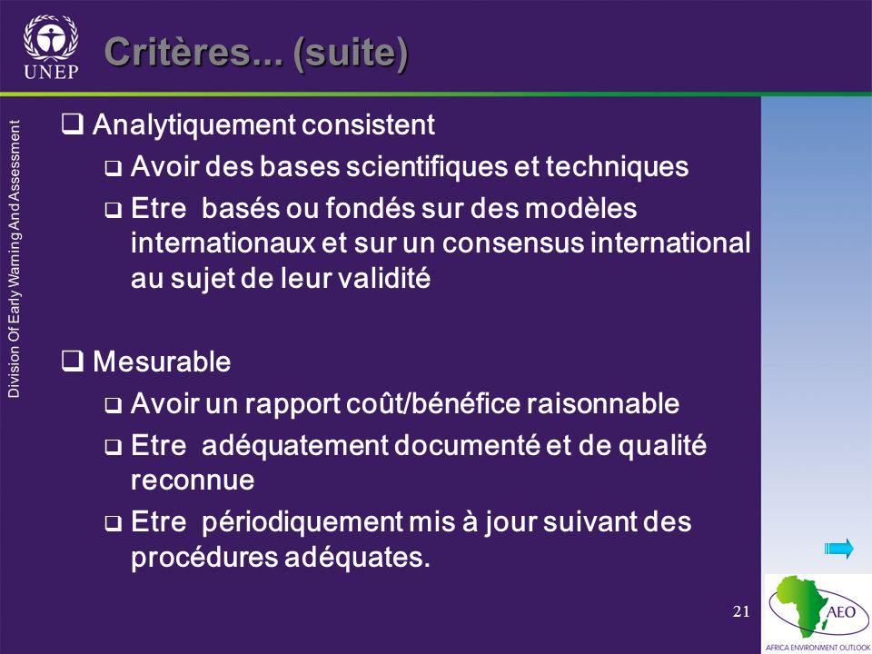 Critères... (suite) Analytiquement consistent
