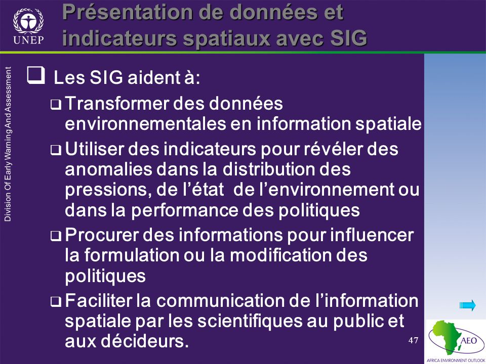 Présentation de données et indicateurs spatiaux avec SIG