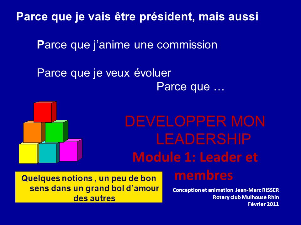 DEVELOPPER MON LEADERSHIP Module 1: Leader et membres