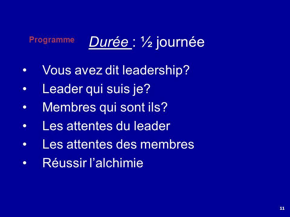 Durée : ½ journée Vous avez dit leadership Leader qui suis je