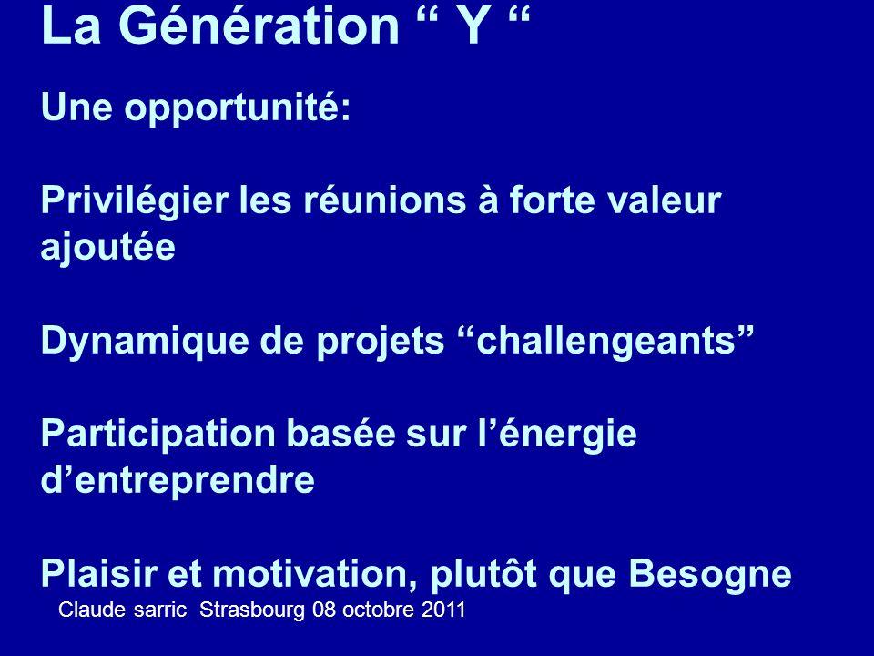 La Génération Y Une opportunité: Privilégier les réunions à forte valeur ajoutée Dynamique de projets challengeants Participation basée sur l'énergie d'entreprendre Plaisir et motivation, plutôt que Besogne