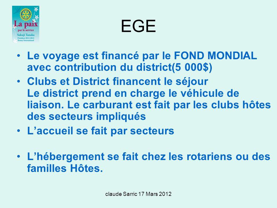 EGE Le voyage est financé par le FOND MONDIAL avec contribution du district(5 000$)