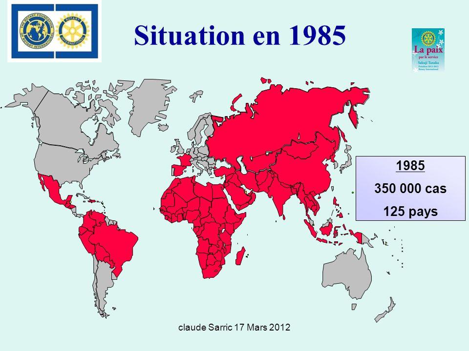Situation en 1985 1985 350 000 cas 125 pays claude Sarric 17 Mars 2012