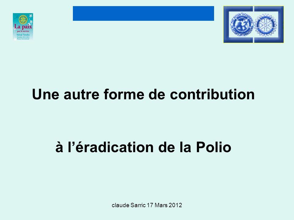 Une autre forme de contribution à l'éradication de la Polio