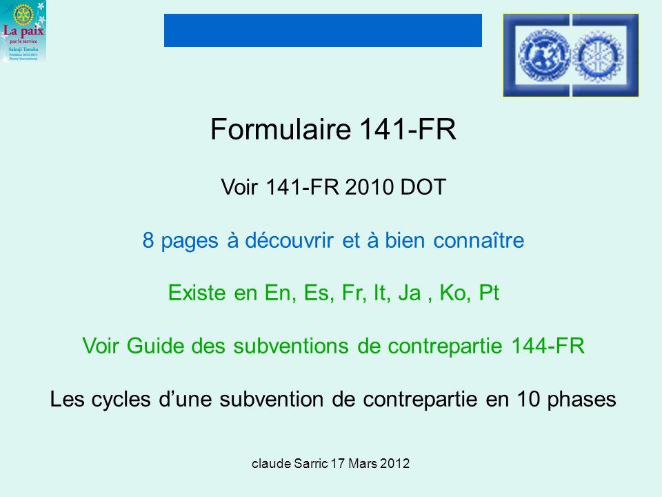 Formulaire 141-FR Voir 141-FR 2010 DOT