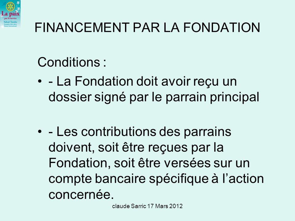 FINANCEMENT PAR LA FONDATION