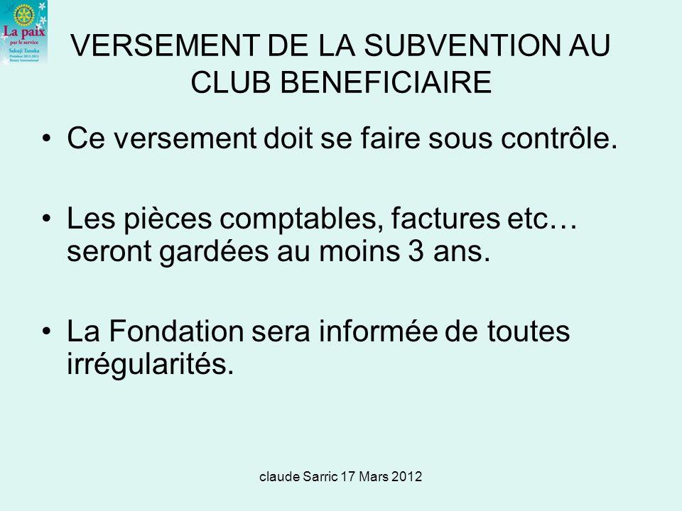 VERSEMENT DE LA SUBVENTION AU CLUB BENEFICIAIRE