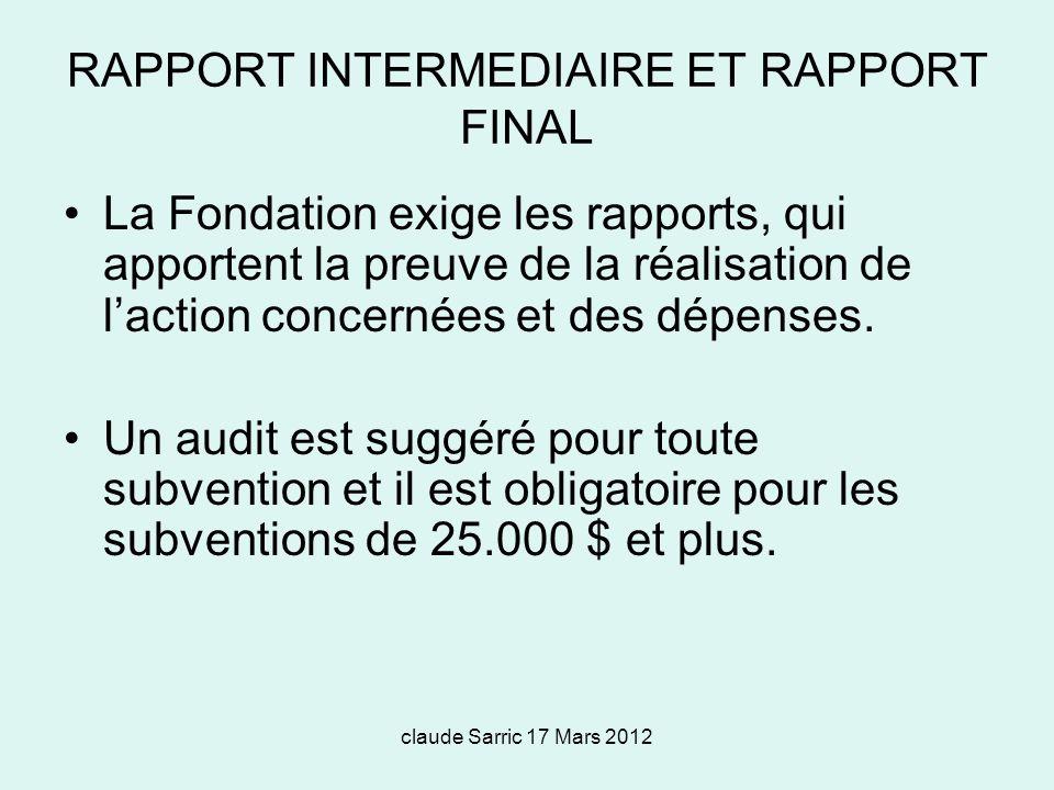 RAPPORT INTERMEDIAIRE ET RAPPORT FINAL