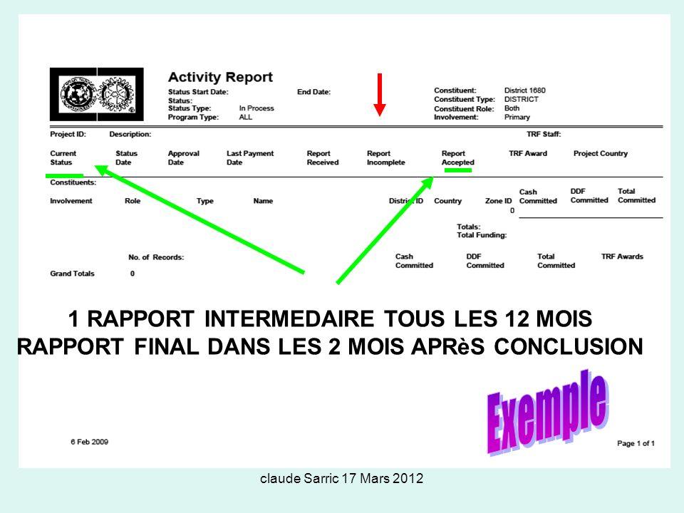 Exemple 1 RAPPORT INTERMEDAIRE TOUS LES 12 MOIS