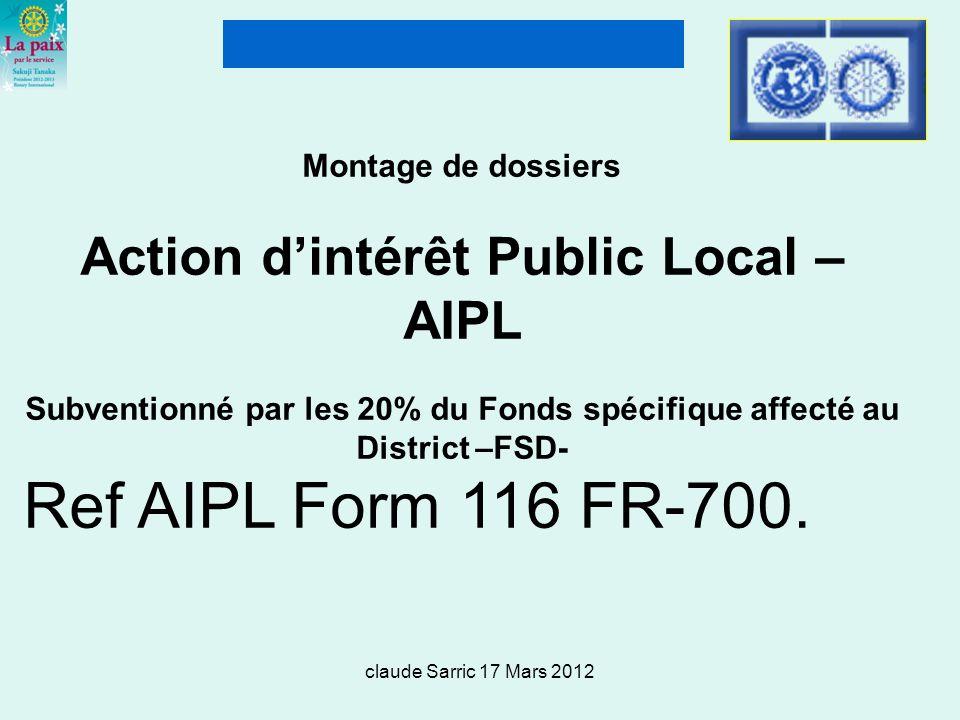 Montage de dossiers Action d'intérêt Public Local – AIPL Subventionné par les 20% du Fonds spécifique affecté au District –FSD-