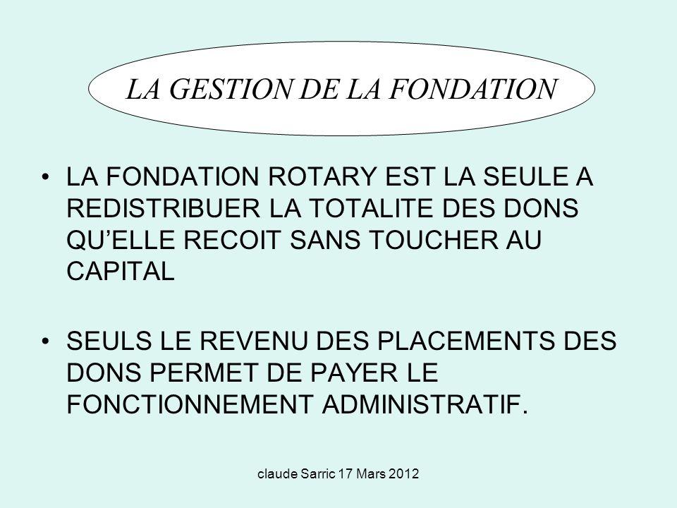 LA GESTION DE LA FONDATION