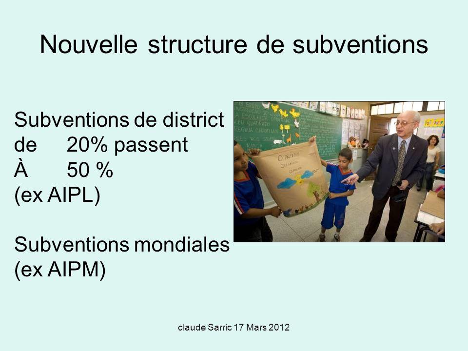 Nouvelle structure de subventions