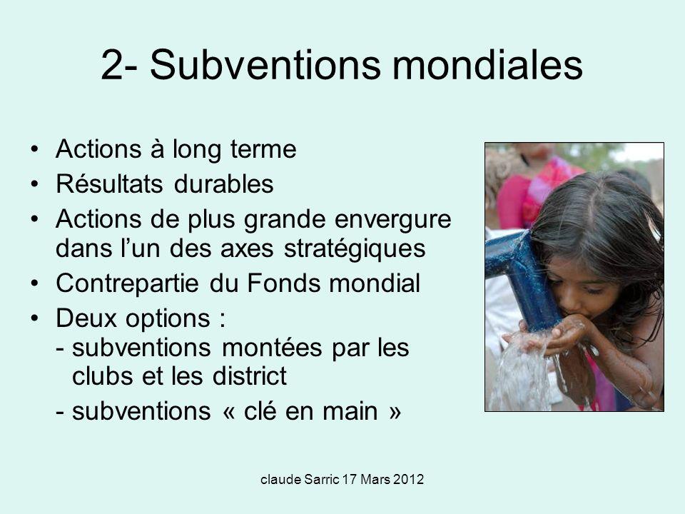 2- Subventions mondiales