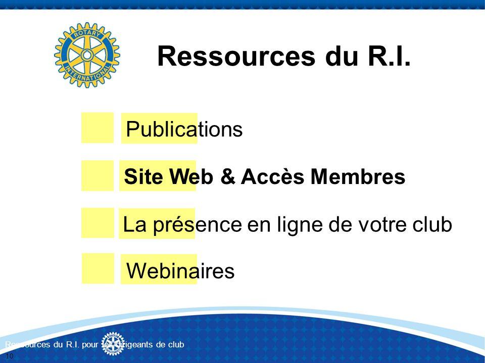 Ressources du R.I. Publications Site Web & Accès Membres