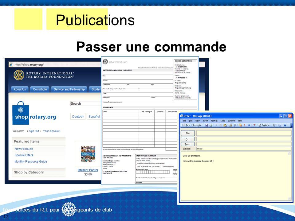 Publications Passer une commande