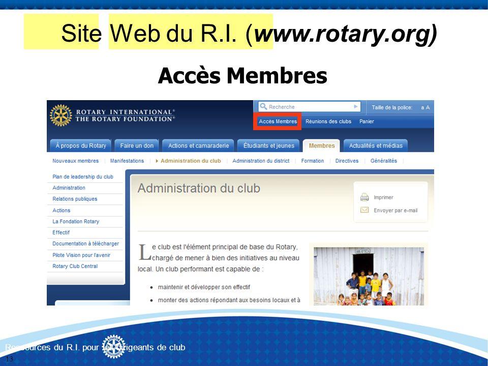 Site Web du R.I. (www.rotary.org)