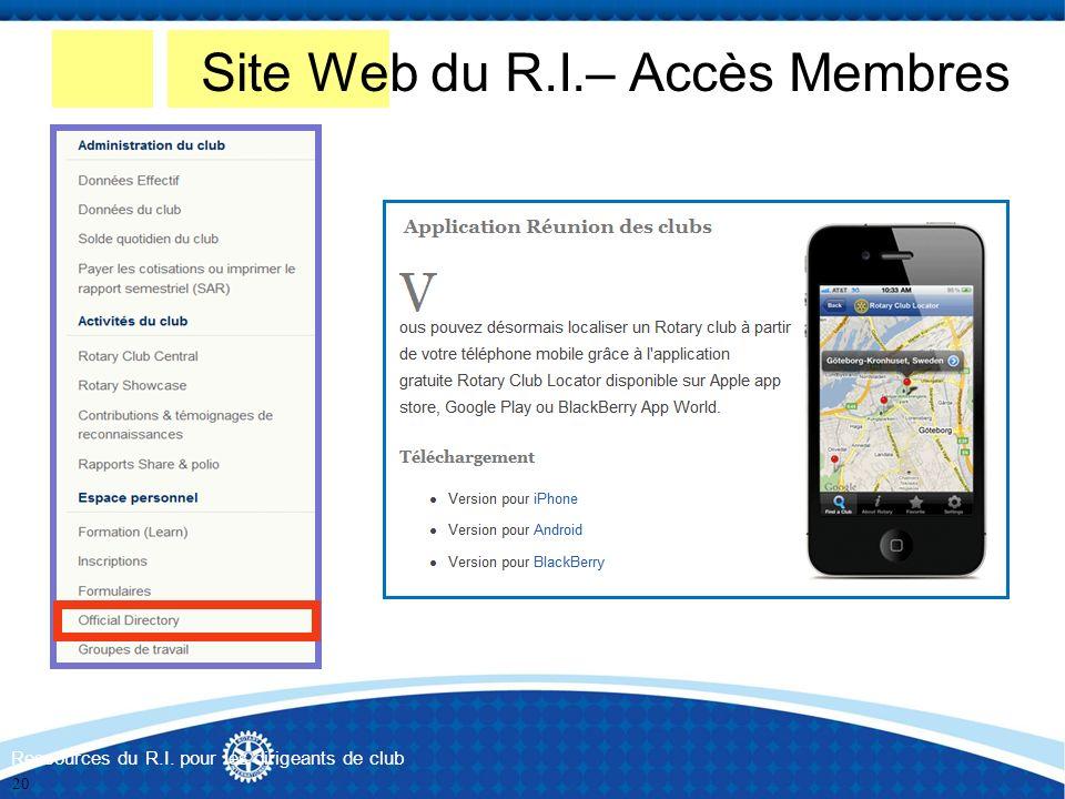 Site Web du R.I.– Accès Membres