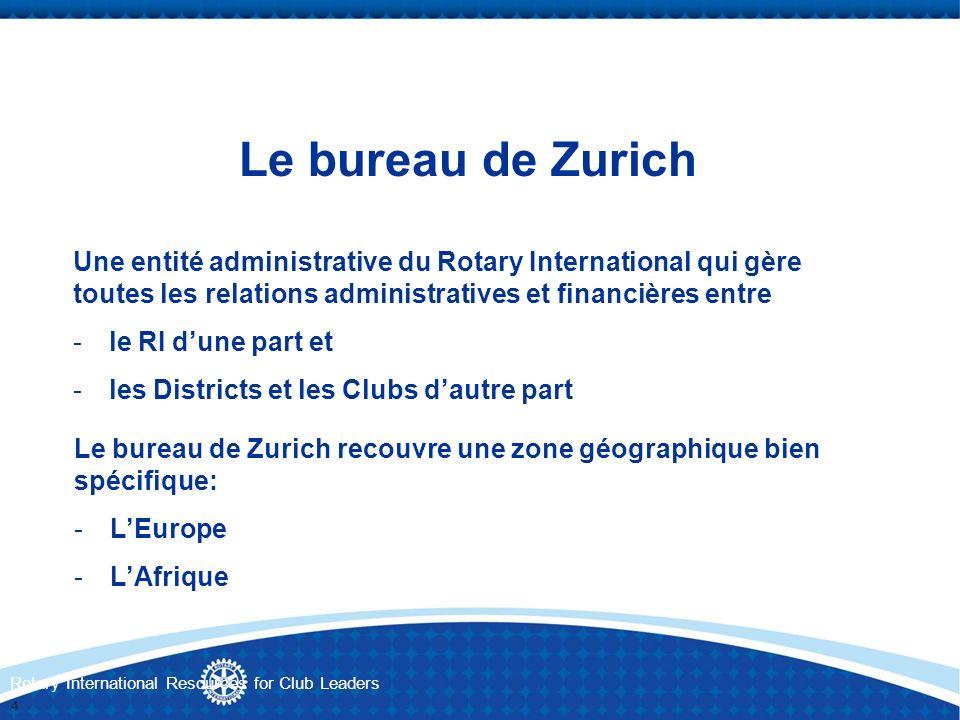 Le bureau de Zurich Une entité administrative du Rotary International qui gère toutes les relations administratives et financières entre.