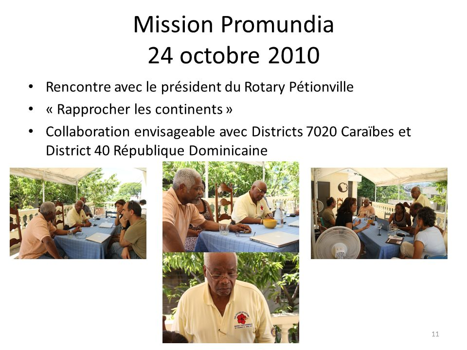 Mission Promundia 24 octobre 2010