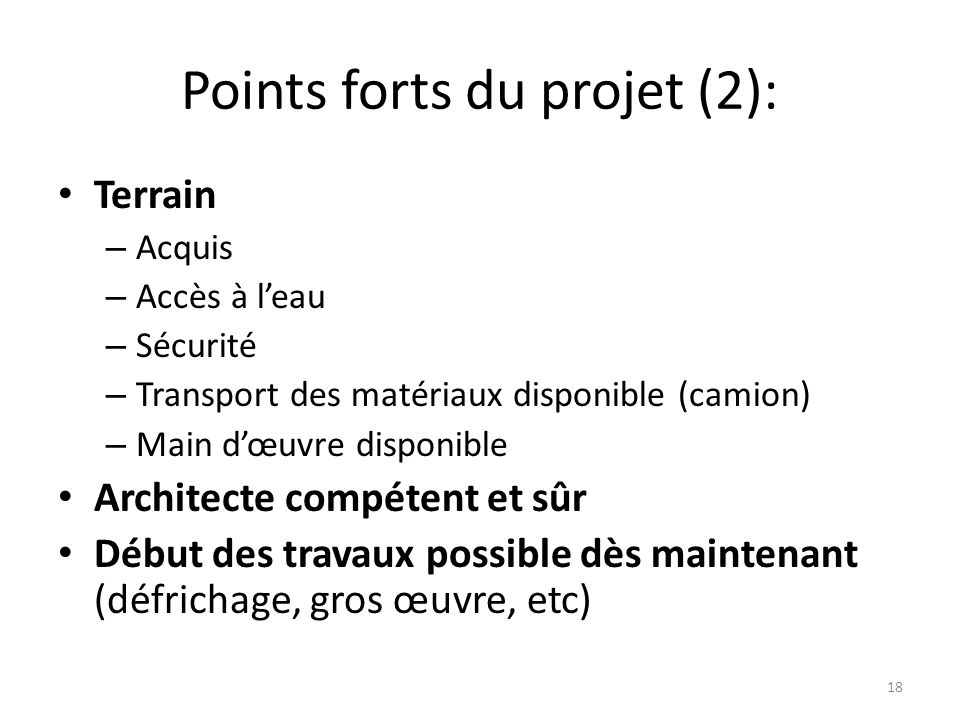Points forts du projet (2):