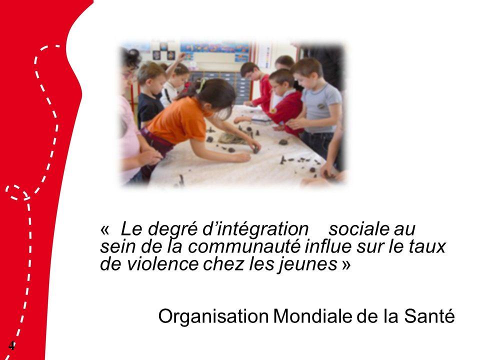 « Le degré d'intégration sociale au sein de la communauté influe sur le taux de violence chez les jeunes » Organisation Mondiale de la Santé