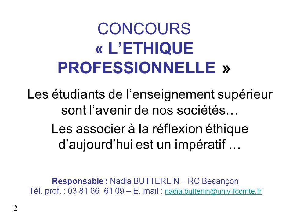 CONCOURS « L'ETHIQUE PROFESSIONNELLE »