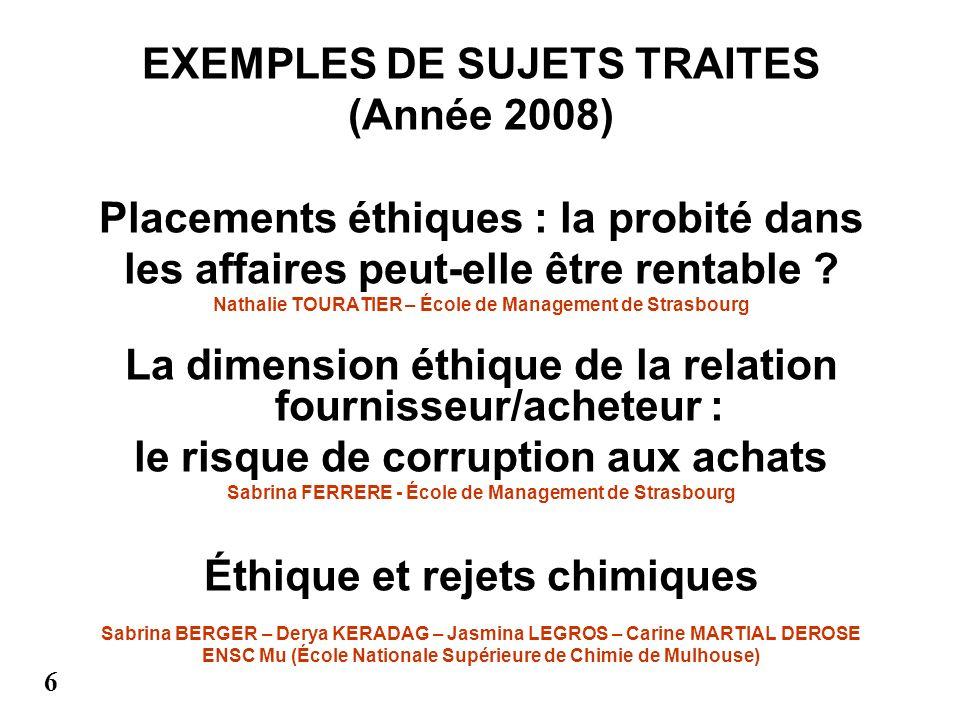 EXEMPLES DE SUJETS TRAITES (Année 2008)