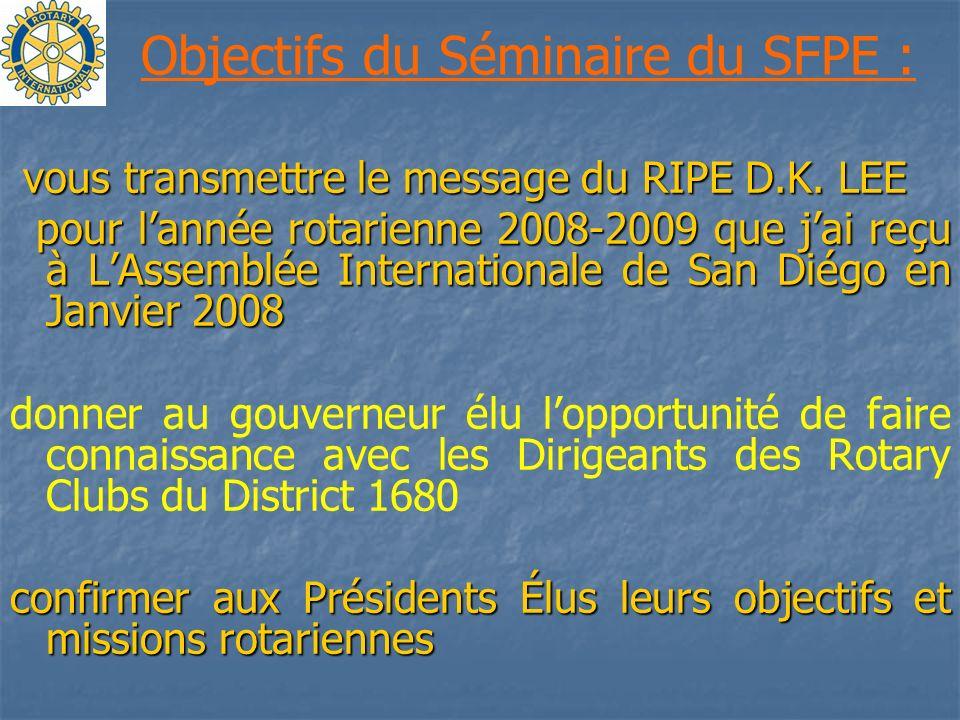 Objectifs du Séminaire du SFPE :