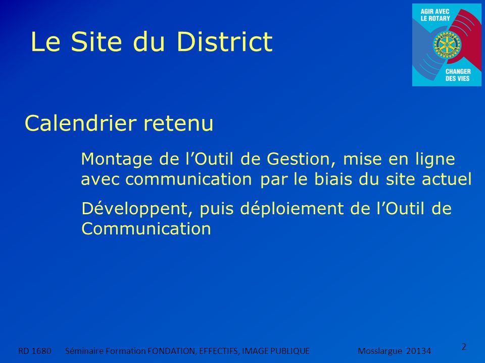 Le Site du District Calendrier retenu