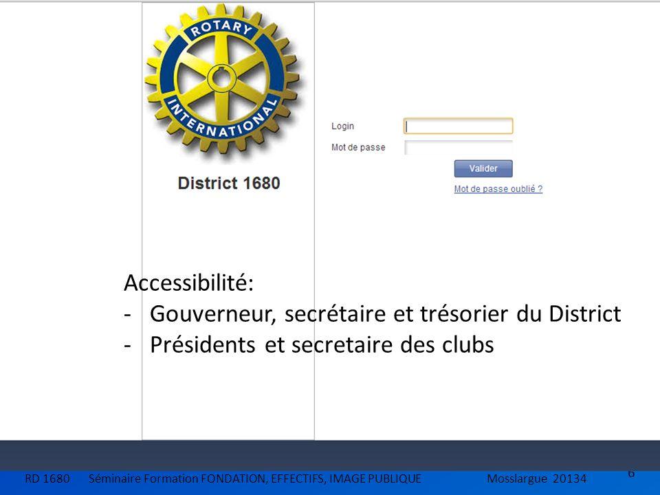 Gouverneur, secrétaire et trésorier du District