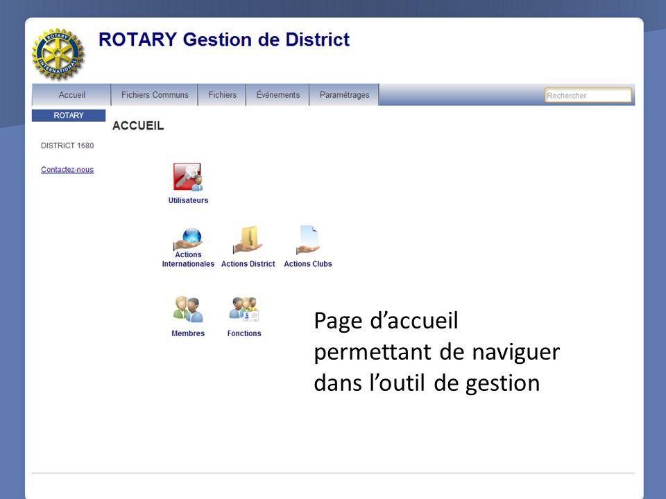 Page d'accueil permettant de naviguer dans l'outil de gestion