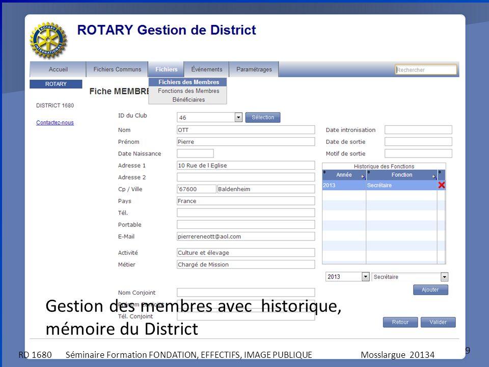 Gestion des membres avec historique, mémoire du District