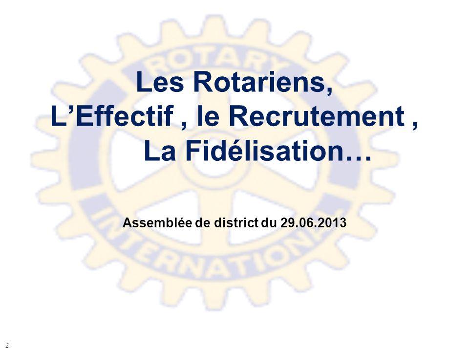 Les Rotariens, L'Effectif , le Recrutement , La Fidélisation…