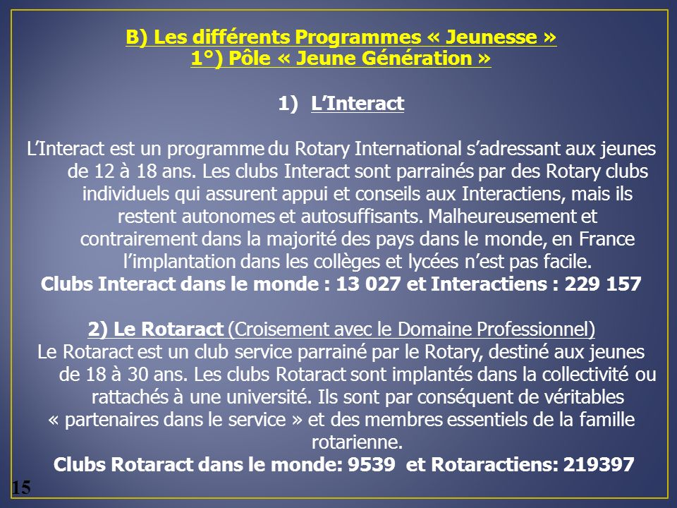 B) Les différents Programmes « Jeunesse »