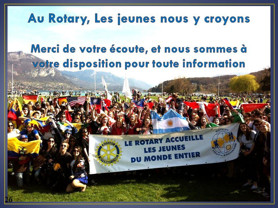 Au Rotary, Les jeunes nous y croyons Merci de votre écoute, et nous sommes à votre disposition pour toute information