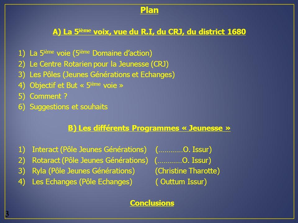 3 Plan A) La 5ième voix, vue du R.I, du CRJ, du district 1680