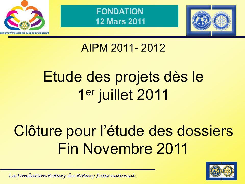 Etude des projets dès le 1er juillet 2011