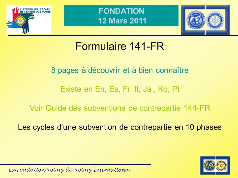 Formulaire 141-FR FONDATION 12 Mars 2011