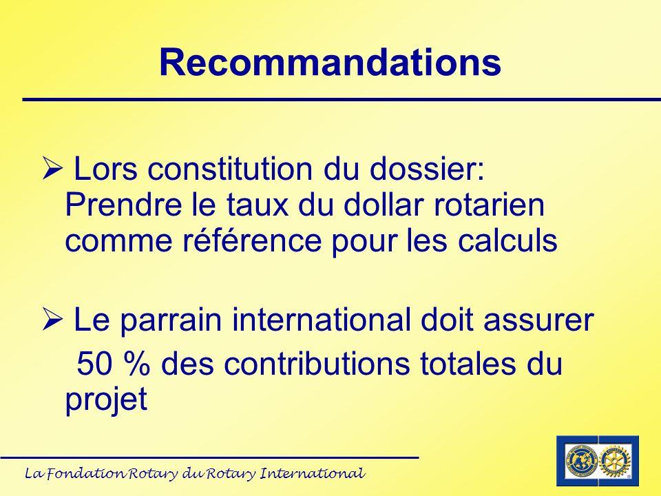 Recommandations Lors constitution du dossier: Prendre le taux du dollar rotarien comme référence pour les calculs.