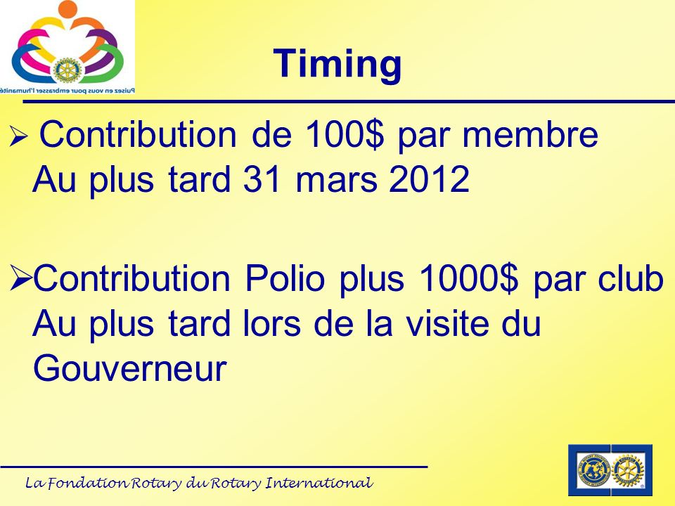Timing Contribution de 100$ par membre Au plus tard 31 mars 2012.