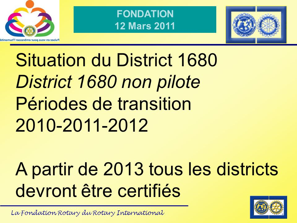 Situation du District 1680 District 1680 non pilote