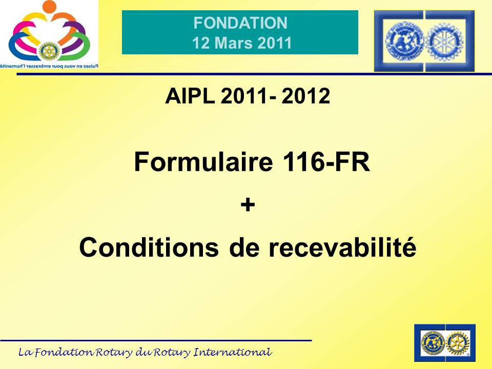 Conditions de recevabilité