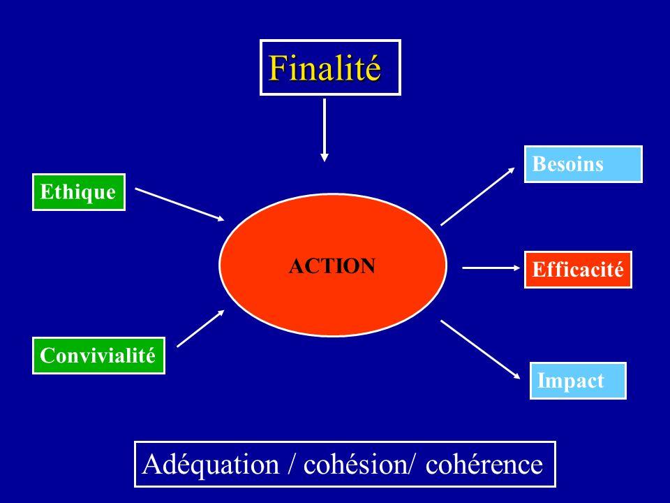 Finalité Adéquation / cohésion/ cohérence Besoins Ethique ACTION