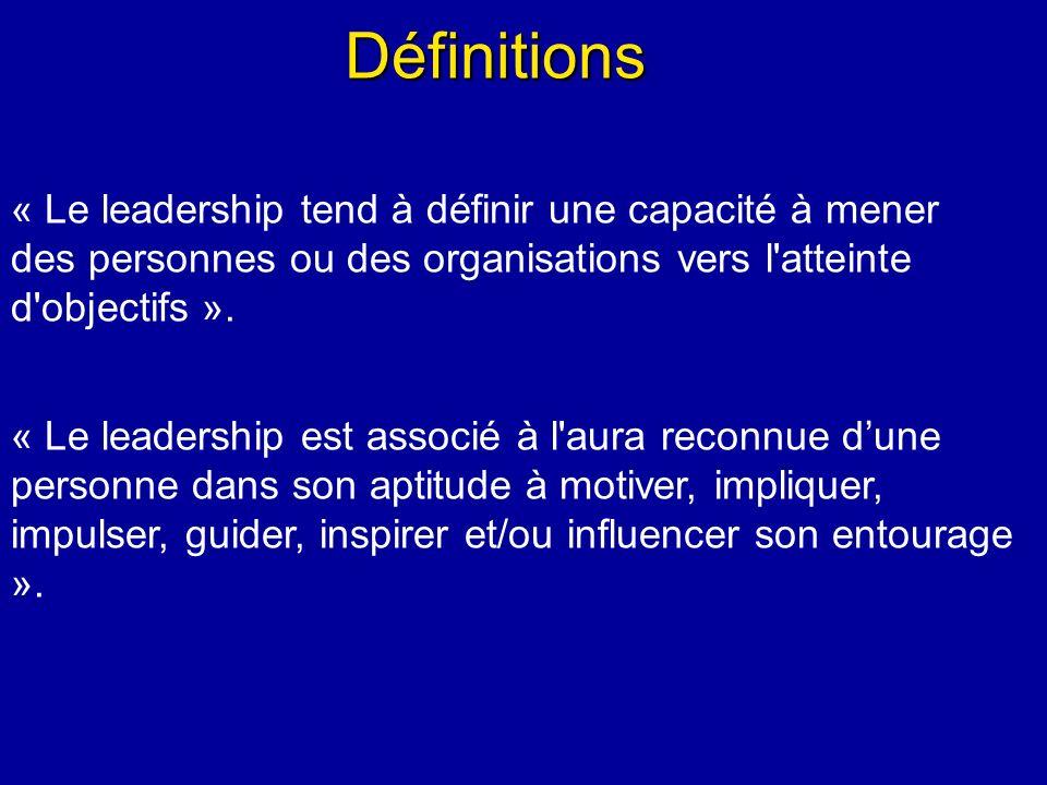 Définitions « Le leadership tend à définir une capacité à mener des personnes ou des organisations vers l atteinte d objectifs ».