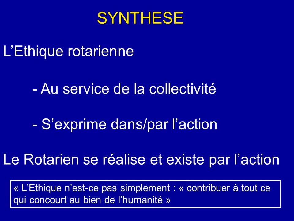 SYNTHESE L'Ethique rotarienne - Au service de la collectivité